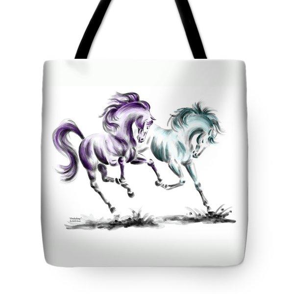 Frolicking - Wild Horses Print Color Tinted Tote Bag by Kelli Swan