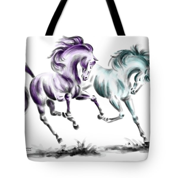 Frolicking - Wild Horses Print Color Tinted Tote Bag