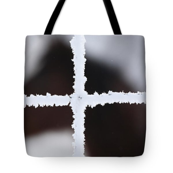 Frost Coveredwire Fence And Horse Tote Bag by Mark Duffy