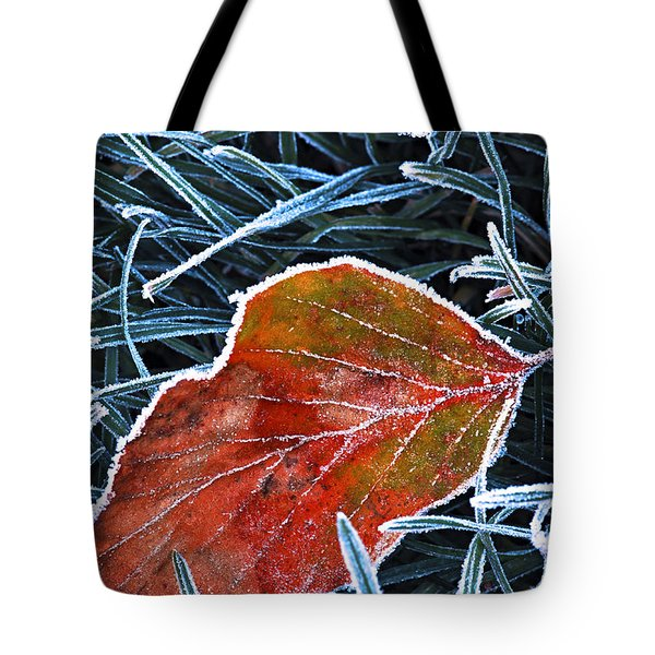Frosty Leaf Tote Bag