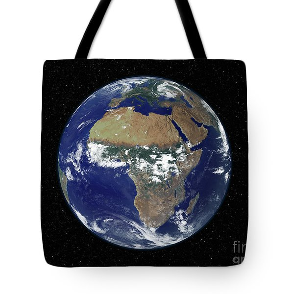 Full Earth Showing Africa And Europe Tote Bag by Stocktrek Images