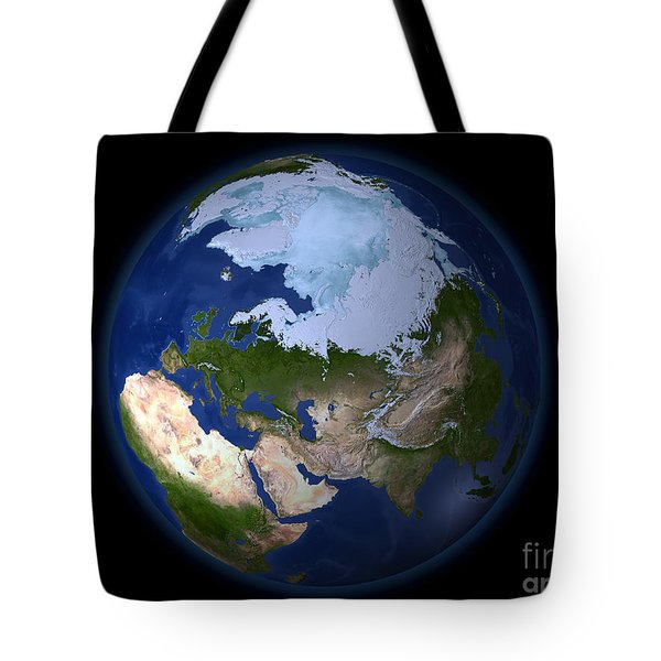 Full Earth Showing The Arctic Region Tote Bag by Stocktrek Images