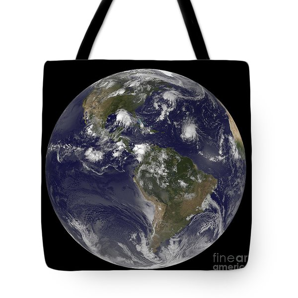 Full Earth Showing Tropical Storms Tote Bag by Stocktrek Images