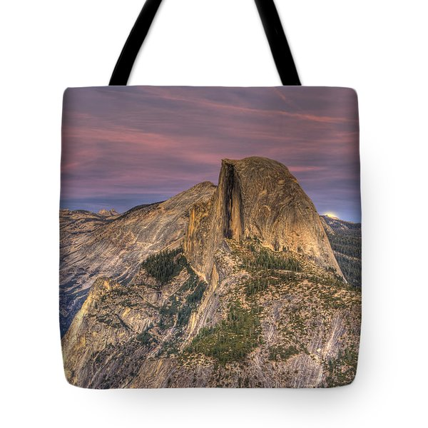 Full Moon Rise Behind Half Dome Tote Bag