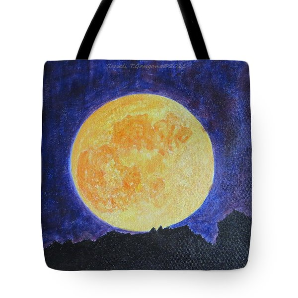 Tote Bag featuring the painting Full Moon by Sonali Gangane