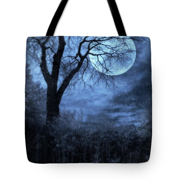 Full Moon Through Bare Trees Branches Tote Bag by Jill Battaglia
