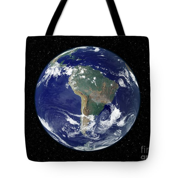 Fully Lit Earth Centered On South Tote Bag by Stocktrek Images