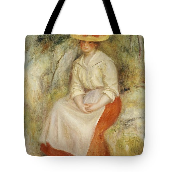 Gabrielle In A Straw Hat Tote Bag by Pierre Auguste Renoir