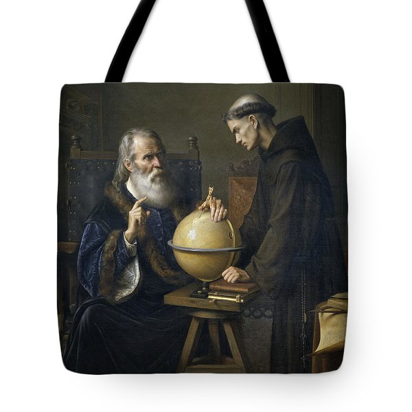 Galileo Galilei Demonstrating His New Astronomical Theories At The University Of Padua Tote Bag by Felix Parra