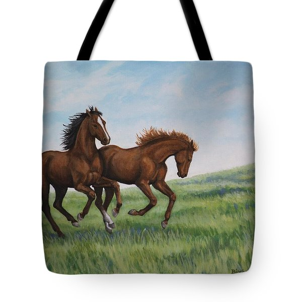 Tote Bag featuring the painting Galloping Horses by Penny Birch-Williams