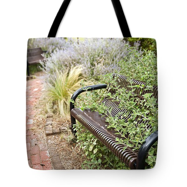 Garden Bench Tote Bag by Melany Sarafis