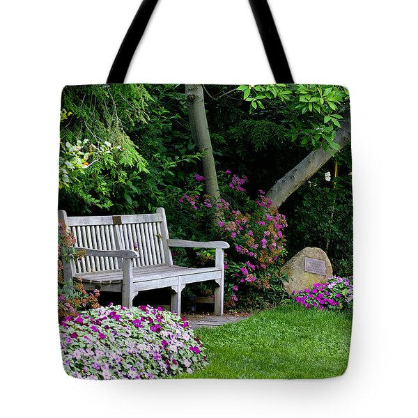 Tote Bag featuring the photograph Garden Bench by Michelle Joseph-Long