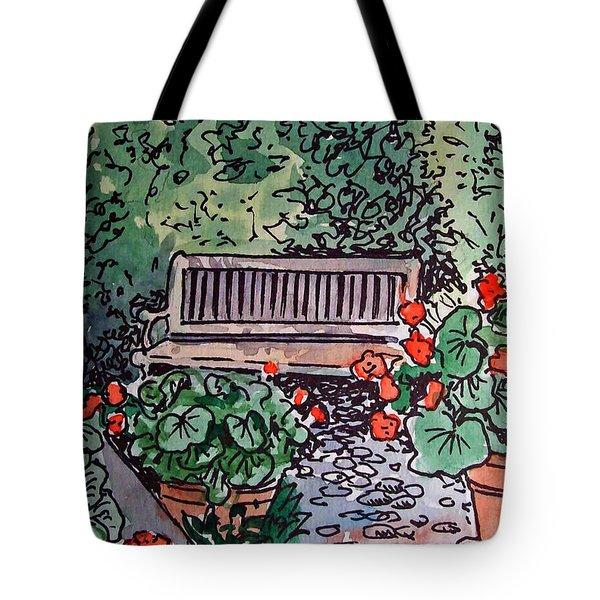 Garden Bench Sketchbook Project Down My Street Tote Bag by Irina Sztukowski