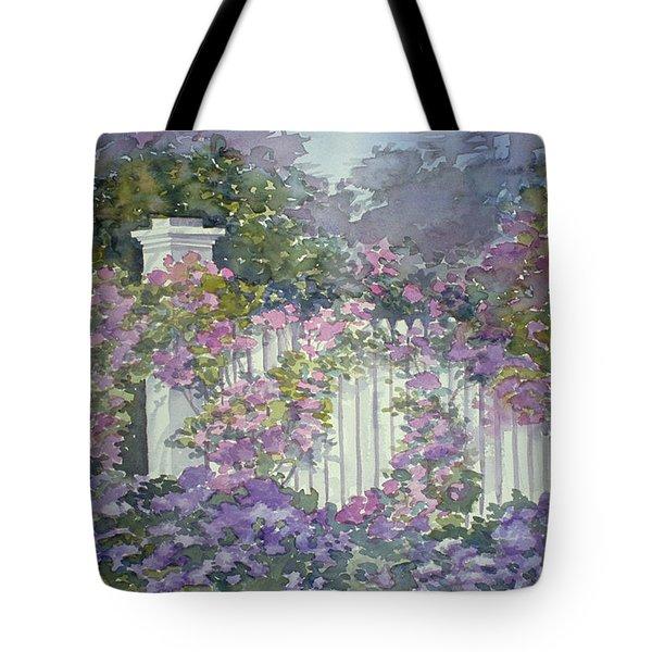 Garden Gate Roses Tote Bag