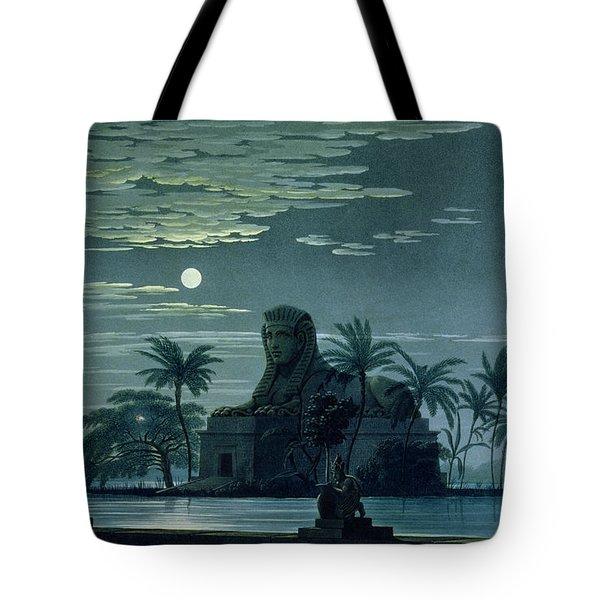 Garden Scene With The Sphinx In Moonlight Tote Bag