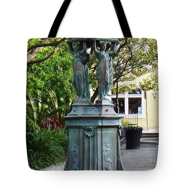 Tote Bag featuring the photograph Garden Statuary In The French Quarter by Alys Caviness-Gober