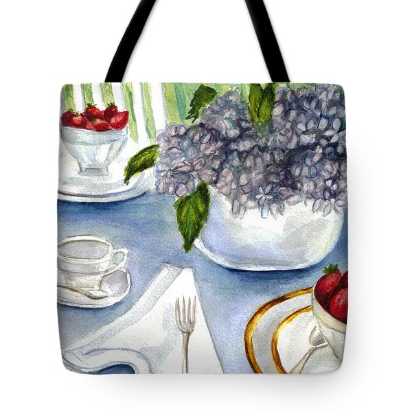 Tote Bag featuring the painting Garden Tea Party by Clara Sue Beym