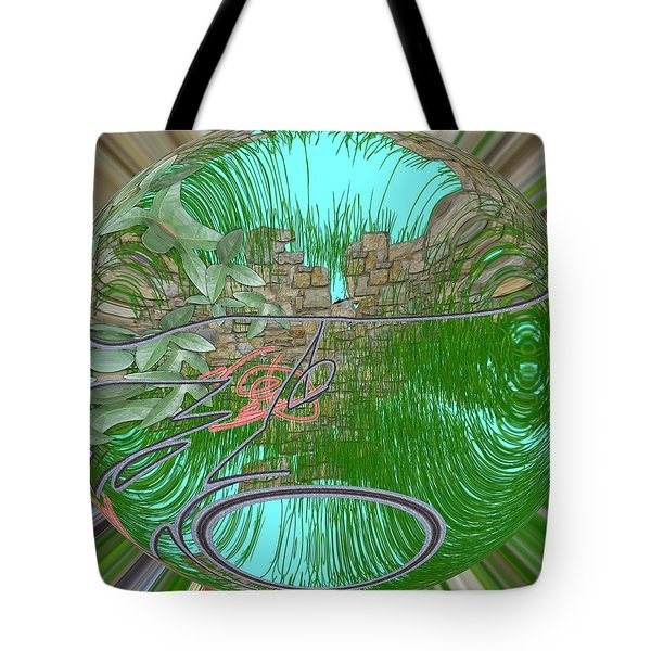 Tote Bag featuring the digital art Garden Wall by George Pedro
