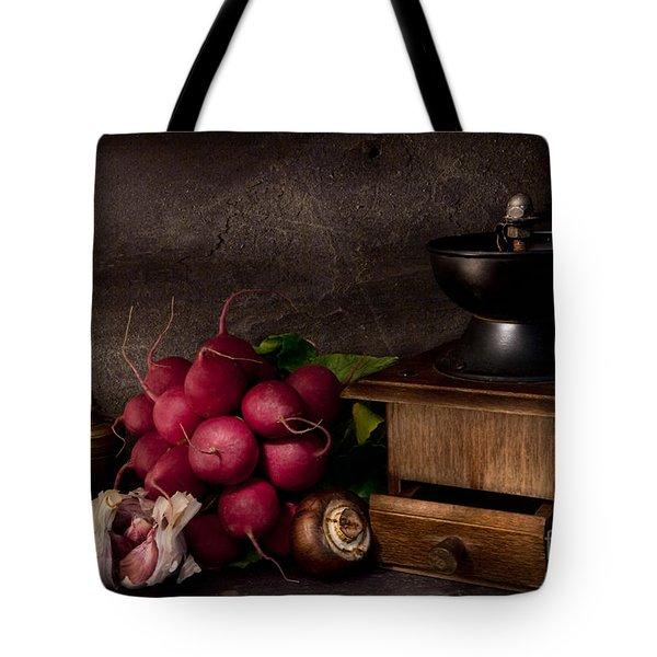 Garlic And Radishes Tote Bag by Ann Garrett