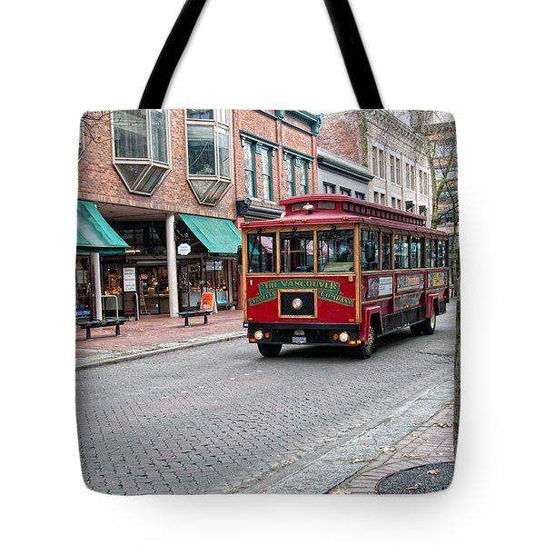 Tote Bag featuring the digital art Gastown Street Scene by Carol Ailles