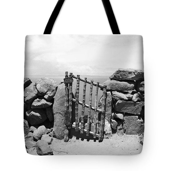 Gate Overlooking Lake Titicaca Tote Bag by Darcy Michaelchuk