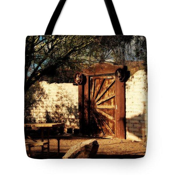 Gate To Cowboy Heaven In Old Tuscon Az Tote Bag by Susanne Van Hulst