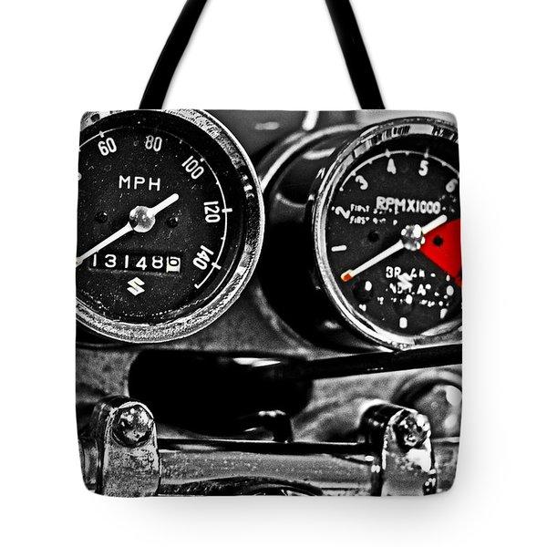 Gauging Speed Tote Bag by Tom Gari Gallery-Three-Photography