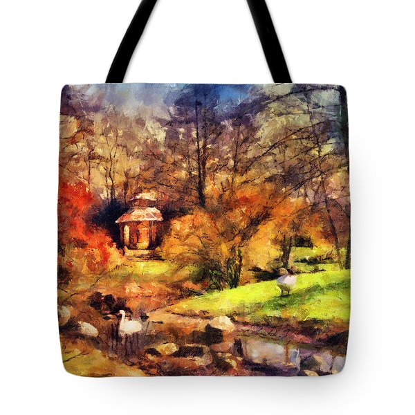 Gazebo In The Park Tote Bag by Jai Johnson