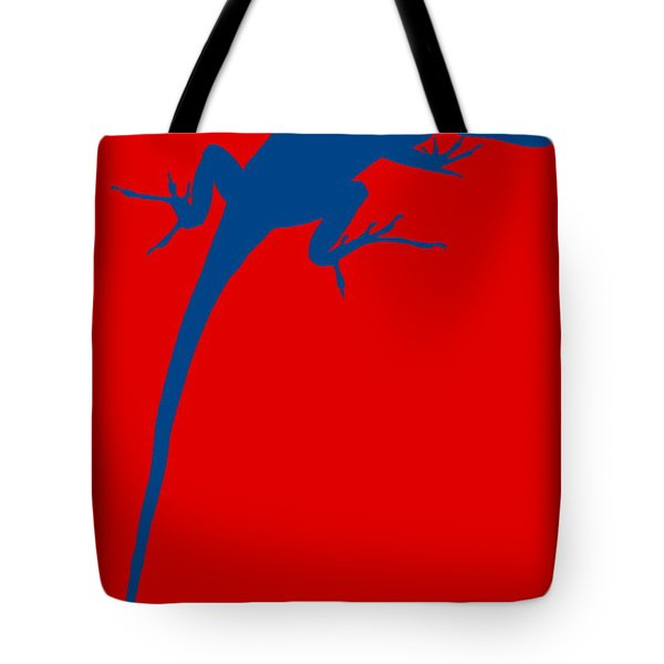 Gecko Silhouette Red Blue Tote Bag by Ramona Johnston