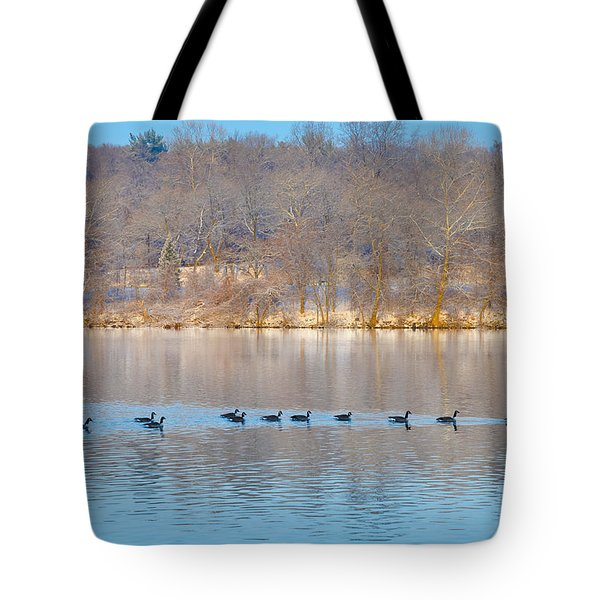 Geese In The Schuylkill River Tote Bag by Bill Cannon