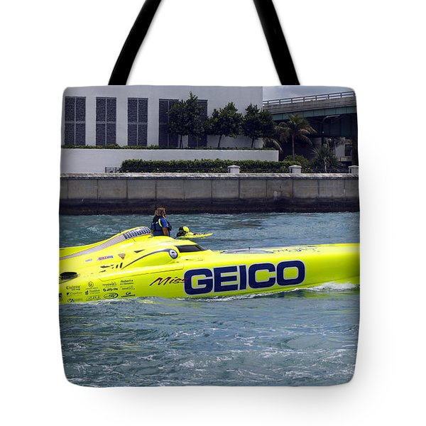 Geico Race Boat Tote Bag