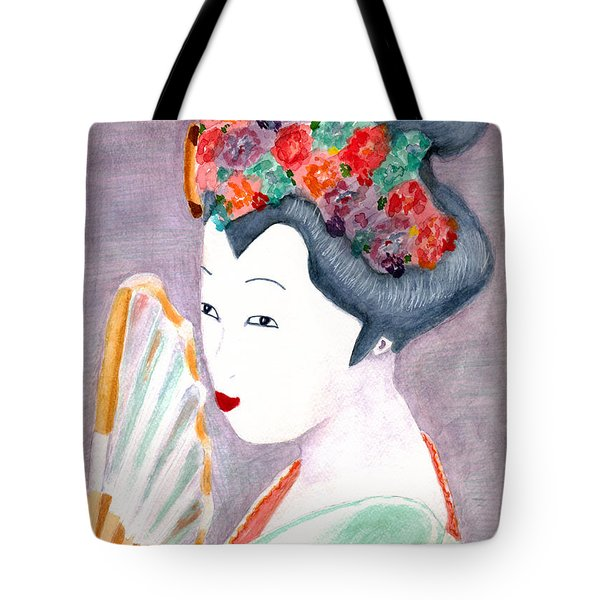 Tote Bag featuring the painting Geisha by Paula Ayers