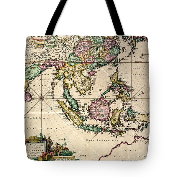 General Map Extending From India And Ceylon To Northwestern Australia By Way Of Southern Japan Tote Bag by Nicolaes Visscher Claes Jansz