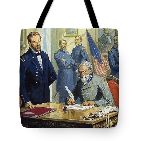 General Ulysses Grant Accepting The Surrender Of General Lee At Appomattox  Tote Bag by Severino Baraldi