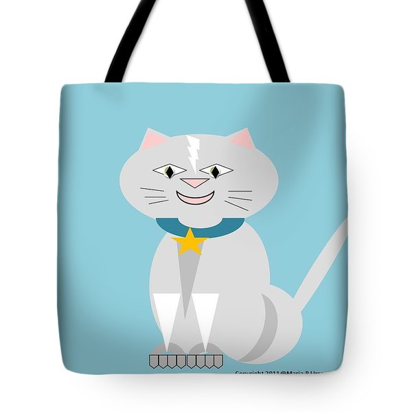 Geo Smiley Cat Tote Bag by Maria Urso