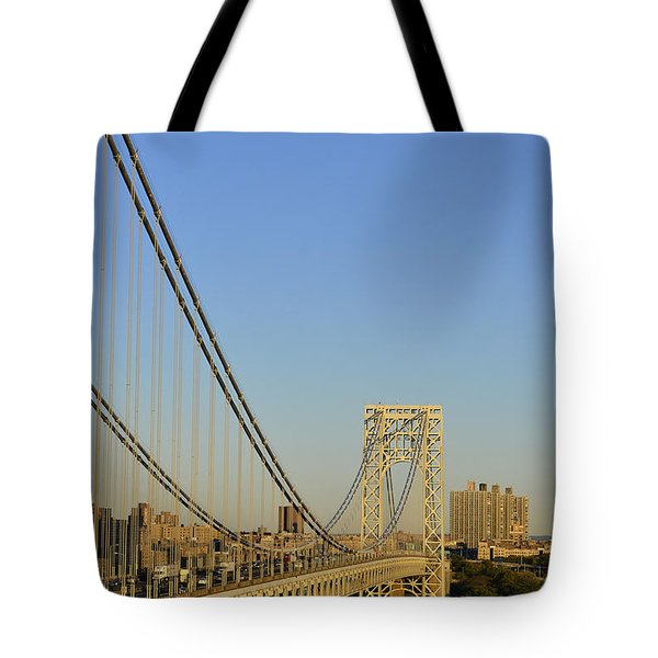 Tote Bag featuring the photograph George Washington Bridge And Boat by Zawhaus Photography