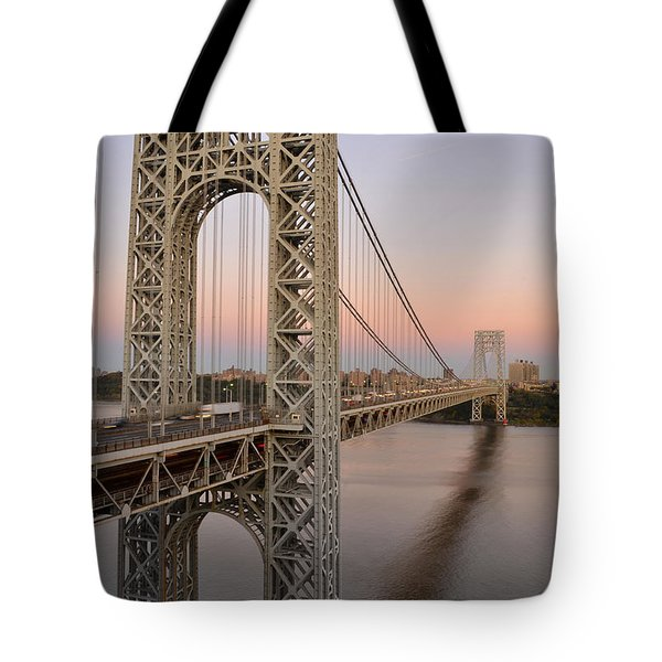 Tote Bag featuring the photograph George Washington Bridge At Sunset by Zawhaus Photography