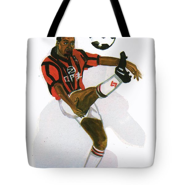 George Weah In Action Tote Bag by Emmanuel Baliyanga