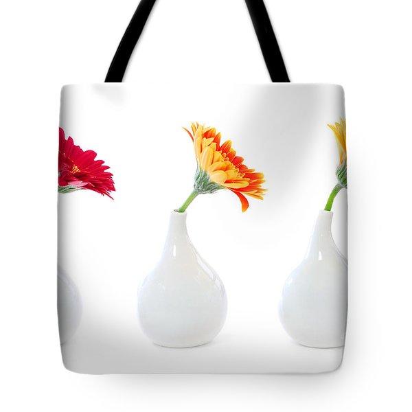 Gerbera Flowers In Vases Tote Bag by Elena Elisseeva