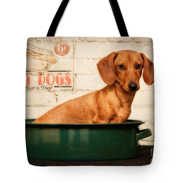 Get Your Hot Dogs Tote Bag by Susan Candelario