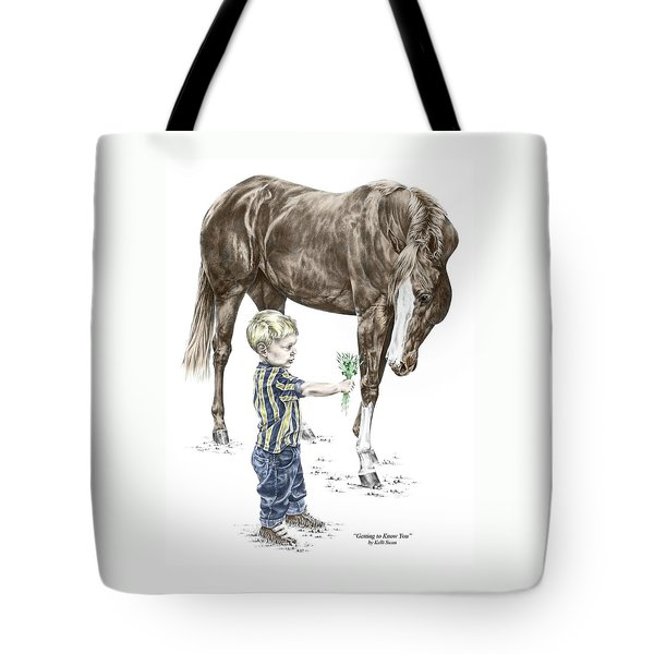 Getting To Know You - Boy And Horse Print Color Tinted Tote Bag by Kelli Swan