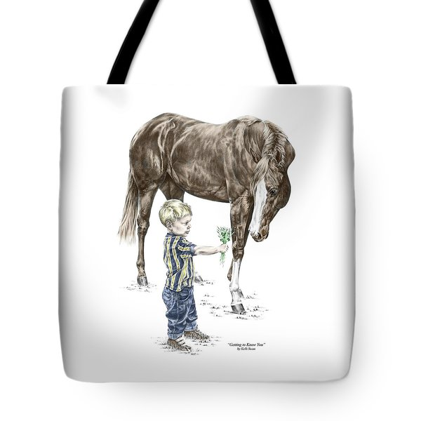 Getting To Know You - Boy And Horse Print Color Tinted Tote Bag