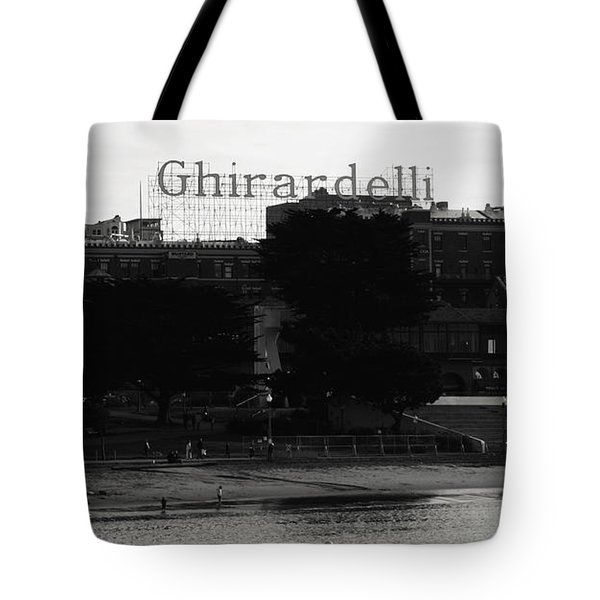 Ghirardelli Square In Black And White Tote Bag