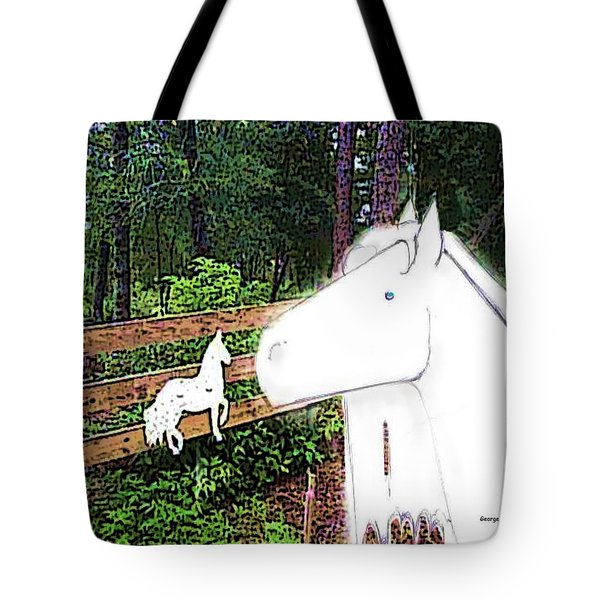 Tote Bag featuring the drawing Ghost Horse by George Pedro