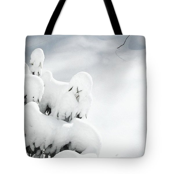 Tote Bag featuring the photograph Ghostly Snow Covered Bush by Pamela Hyde Wilson