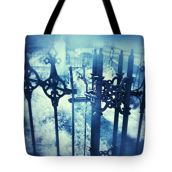 Ghostly Woman In The Cemetery Tote Bag by Jill Battaglia