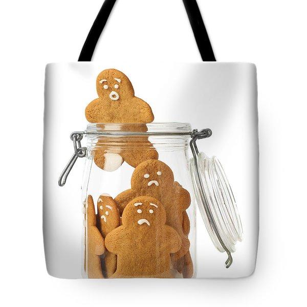 Gingerbread Men Escape Tote Bag by Amanda Elwell