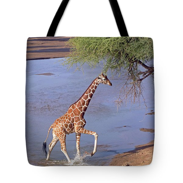 Giraffe Crossing Stream Tote Bag