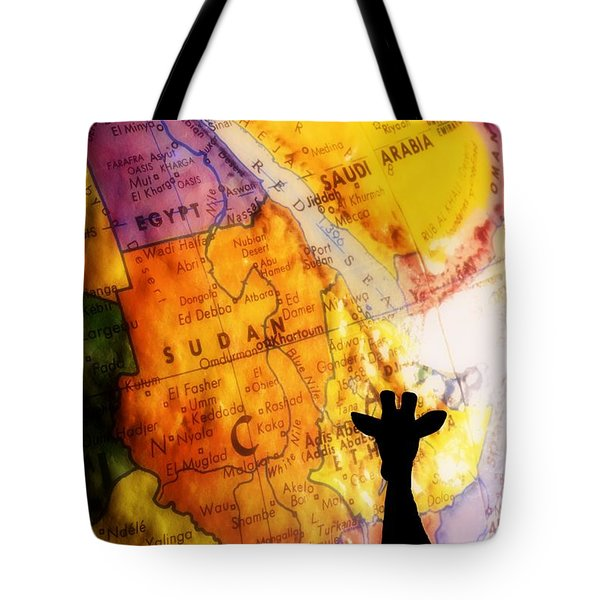 Giraffe Silhouette With Map Background Tote Bag by Chris Knorr