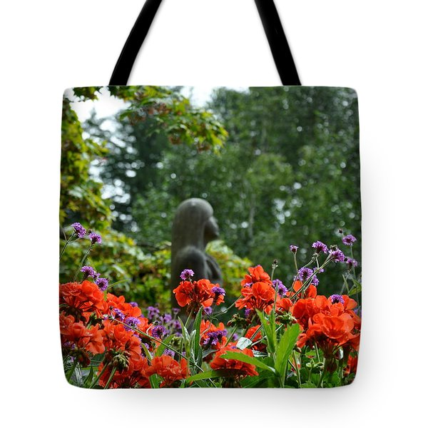 Girl Behind Red Geraniums Tote Bag by Tanya  Searcy